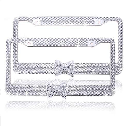 - JUSHACHENGTA Bling Bling License Plate Frames 2 Pack White Bow - Handmade Waterproof Glitter Rhinestones Crystal Plate Frames for Cars with 2 Holes Screws Caps Set Gift White Bowtie