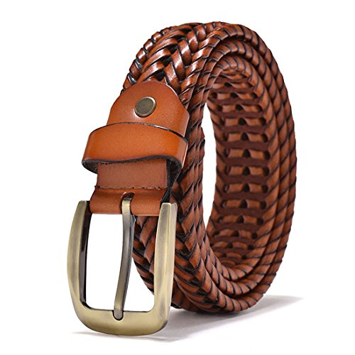 VanPeng Men Braided Woven Real Leather Belt Black (brown 2, waist:38~42)