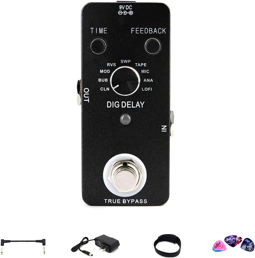 YUSDP Profesión Mini Digital Delay Echo Effect Pedal, con 9 Modos, luz de Pantalla LED Clear Normal Reverse- con Cable de 9v y Accesorios, para bajo de Guitarra
