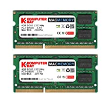 Komputerbay MACMEMORY 8GB (2x 4GB) DDR3 PC3-10600 1333MHz SODIMM 204-Pin Laptop Memory for Apple Mac