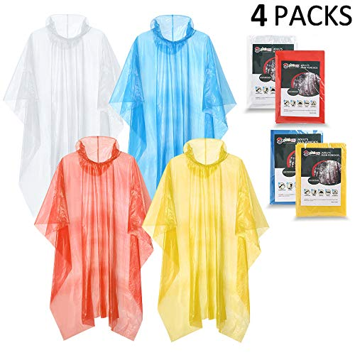 SaphiRose Emergency Disposable Rain Poncho for Adults(4 Pack)