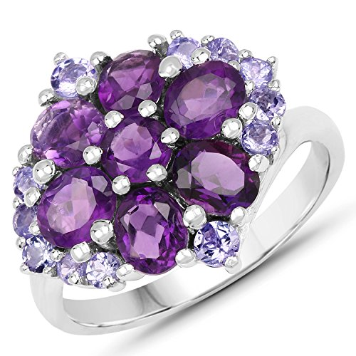 Johareez 2.77 cts Amethyst Tanzanite .925 Sterling Silver Rhodium Plated Ring for Women