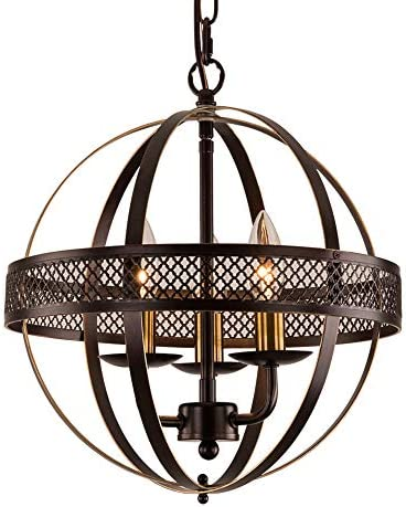 MO OK Globe Chandeliers 3 Light Retro Bronze Chandelier Lighting with Adjustable Chain