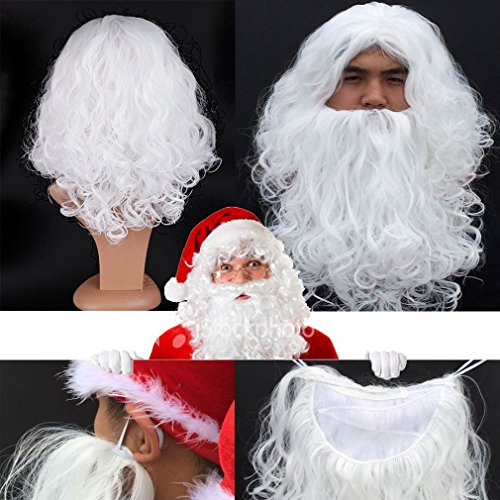 S-noilite Santa Claus Father Christmas Wig and Beard Moustache Set Men's Pure White Curly Beard and Wig for Xmas Fancy Dress Costume Child and Adult Deluxe Synthetic Fiber