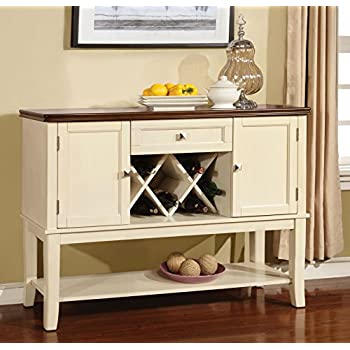 Furniture of America Macchio Transitional Dining Buffet Server, Cherry/Vintage White