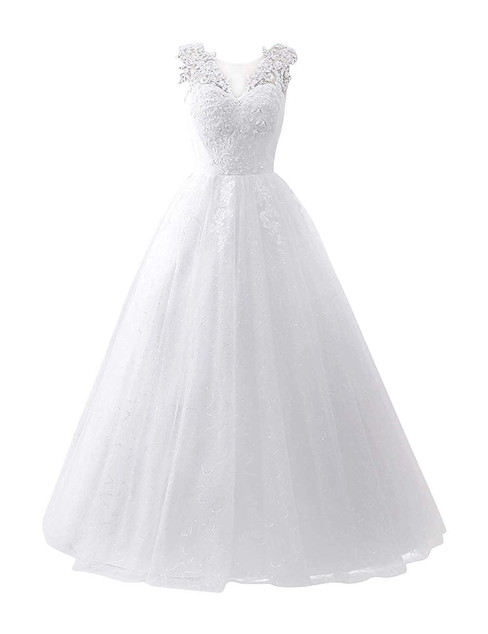 Brautkleid Lang Ausschnitt Besbomig V Ärmellos Damen DH29EYeWI