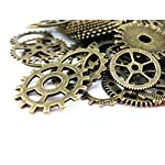 Yueton 100 Gram (Approx 70pcs) Antique Steampunk Gears Charms Clock Watch Wheel Gear for Crafting 6
