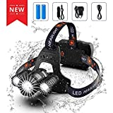 LED Headlamp - Juzihao JM-T6 Super Bright 6000 Lumens 4 Modes Mini CREE LED Zoomable Flashlight,Water Resistant Portable Camping Torch with Rechargeable 18650 Batteries and Charger