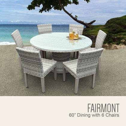 TK Classics FAIRMONT-60-KIT-6 Fairmont 60 Inch Outdoor Patio Dining Table with 6 Armless (Fairmont Dining Set)