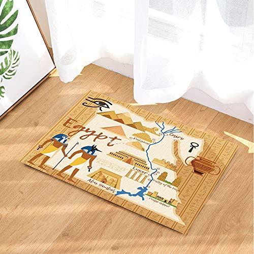 Cartoon Bath Rugs Egypt Style Anubis Sphinx Pyramid Pharaoh Palace Map Non-Slip Doormat Floor Entryways Indoor Front Door Mat Kids Bath Mat 15.7x23.6in Bathroom Accessories]()