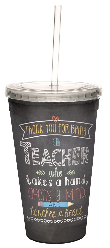 Teacher Mind Heart Double-Walled Cool Travel Cup with Reusable Straw, 16-Ounce, Teacher Appreciation Week Thank You Gift - Tree-Free Greetings 98219