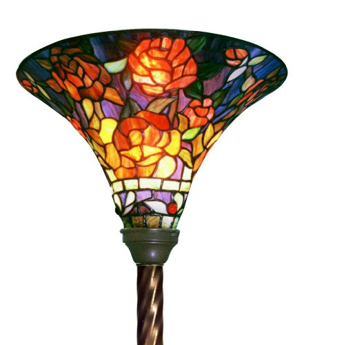 Warehouse of Tiffany PS185-BB75B Tiffany-style Rose Torchiere, Amber/Green by Warehouse of Tiffany
