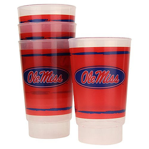 Whirley Drink Works NCAA Frosted Plastic Tailgating Cups, 16oz.(4-Pack) (Ole Miss Rebels)