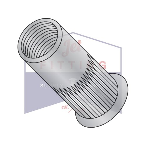 3/8-16-.150 Small Flange Ribbed Threaded Insert (Rivet Nut)   Aluminum Alloy #5056   Thin Wall   Open End   Cleaned And Polished   Non-Ribbed (QUANTITY: 1000)