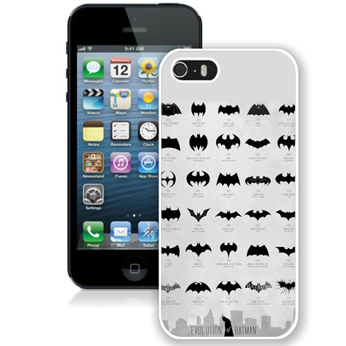 Coque,Fashion Coque iphone 5S Evolution Of The Batman Logo Vector blanc Screen Cover Case Cover Fashion and Hot Sale Design