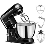 : Cirocco 4.3 Quart 6 Speed Electric Kitchen Stand Mixer Machine w/Stainless Steel Bowl Hook Beater Egg Whisk Cover| Ergonomic 550 W Heavy Duty Low Noise For Dough Bread Cake Bakery Food Pastry Black