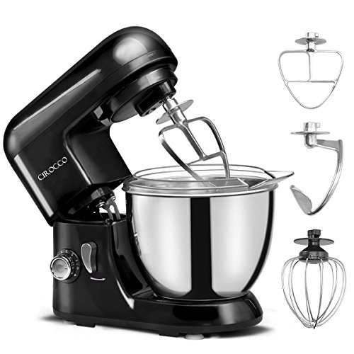 Cirocco 4.3 Quart 6 Speed Electric Kitchen Stand Mixer Machine w/Stainless Steel Bowl Hook Beater Egg Whisk Cover| Ergonomic 550 W Heavy Duty Low Noise For Dough Bread Cake Bakery Food Pastry Black