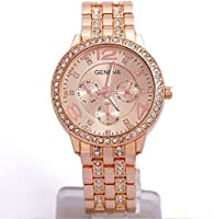 Happy Hours - Classic Rose Gold Big Dial Alloy Crystal Rhinestone Quartz Leisure Wrist Watch