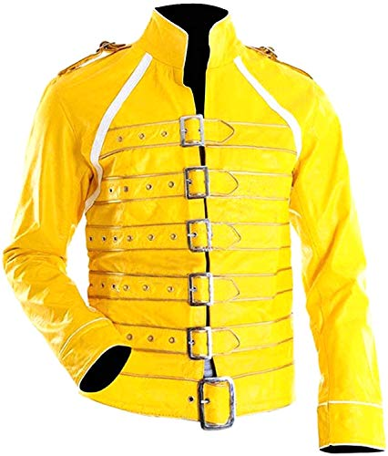 Prime-Fashion Freddie Mercury Queen Outfit Yellow Wembley Faux Leather Jacket -