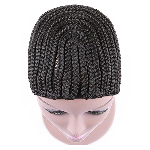 [Braided Cap with Adjustable Strap and Combs Braiding Weave Cap for Easier Sew In Medium Size Black Color (Cornrow-1] (Cornrow Wigs)