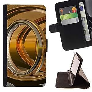 Momo Phone Case / Flip Funda de Cuero Case Cover - Anillo de Oro Resumen - Samsung Galaxy Note 4 IV