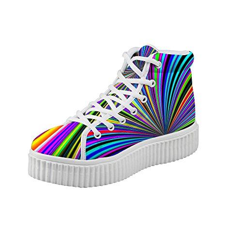 Multicolour Top Platform Shoes Floral High HUGSIDEA Fashion Sneakers Women 6qvYv8aT