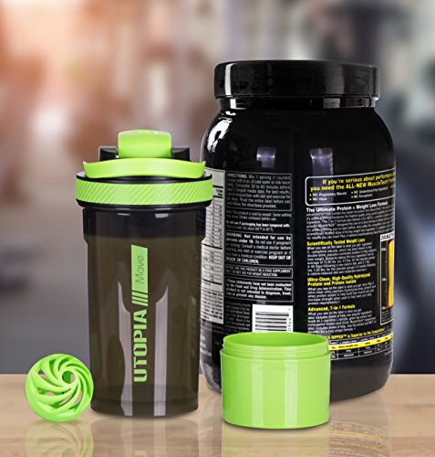Protein Shaker Compartment: Classic Protein Mixer Shaker Bottle (24-Ounce Bottle) With