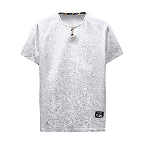 (CMrtew ❤️Men's Fashion New Summer Casual Linen and Cotton Short Sleeve O-Neck T-Shirt Top Blouse Tee (White, L))