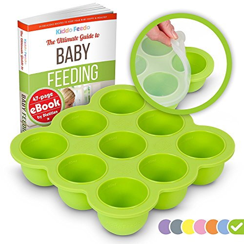 Filled Baby Blocks - KIDDO FEEDO Baby Food Storage Container and Freezer Tray with Silicone Clip-On Lid - 9x2.5oz Easy-Out Portions - BPA Free/FDA Approved - Free eBook by Award-Winning Author/Dietitian - Green