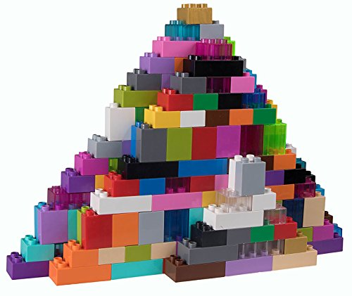 Strictly Briks Classic Big Briks Building Brick Set 100% Compatible with All Major Brands | 2 Large Block Sizes for Ages 3+ | Premium Building Bricks with Big Pegs in Solid and Clear | 108 Pieces