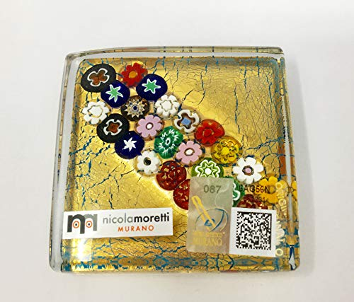 (Millefiori Murano Glass Gold Paperweight, Made in Italy)