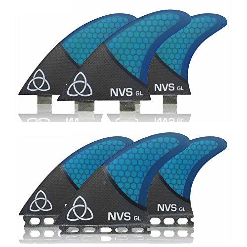 Naked Viking Surf NVS: Large GL Thruster Surfboard Fins (Set of 3) Blue Carbon Fiber, Futures (Carbon Fiber Fin Set)