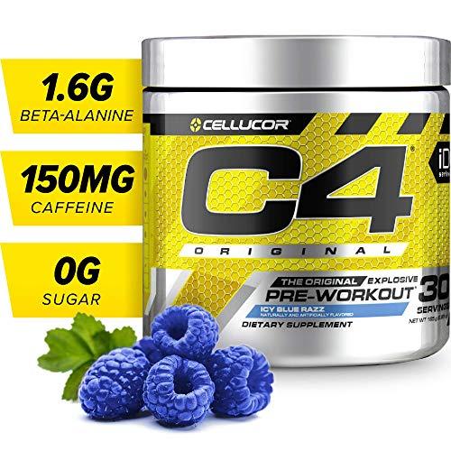 C4 Original Pre Workout Powder Icy Blue Razz | Sugar Free Preworkout Energy Supplement for Men & Women | 150mg Caffeine + beta Alanine + Creatine | 30 Servings