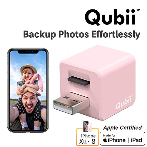 Flash Drive for iPhone, Auto Backup Photos & Videos, Photo Stick for iPhone, Qubii Photo Storage Device for iPhone & iPad【microSD Card Not Inculded】- Pink