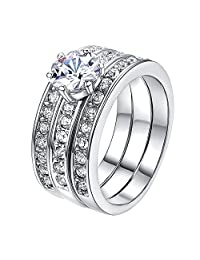 Yoursfs 3PCS Engagement Rings Set for Women 18K Gold Plated Cubzircon Wedding Rings Jewelry Gift