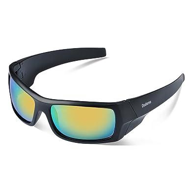 Duduma Polarisierter Sport Herren Sonnenbrille für Ski Fahren Golf Laufen Radsport Tr90 Superleichtes Rahmen Design für Herren und Damen (Schwarze Matt Rahmen mit Blau Linse) nxp6A