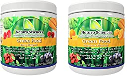 Natural Greens Food By Naturo Sciences - Complete Raw Whole Green Food Nutrition with Super Powerful Antioxidants, Vitamins, Minerals - Two Pack - Two Flavors - Berry and Tangerine - One of each