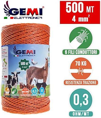 Gemi Elettronica Hilo Conductor Redondo para Pastor eléctrico Cerca eléctrica 500 MT 4 mm² Valla eléctrica Valla electrificada para animales jabalí vacas caballos perros cerdos gallinas zorros