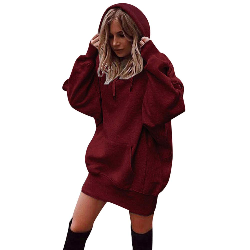 Mysky Fashion Women Casual Solid Long Sweatshirt Dress Ladies Simple Hooded Plus Size Pullover Blouse