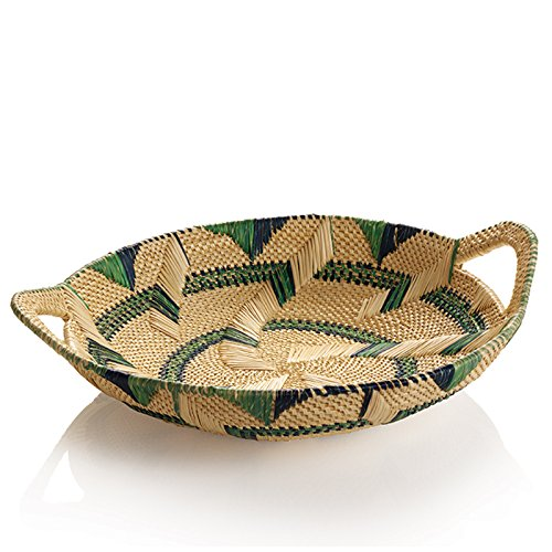 Millet Tray - African Basket Natural Millet Tray with Dark Blue Green Accents and Handles The Crabby Nook
