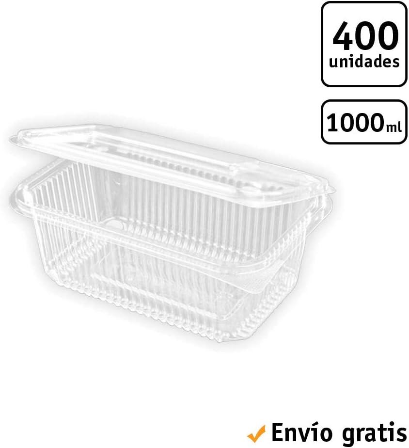 TELEVASO - 400 uds - Envase Recipiente para Comidas frías con Tapa bisagra Rectangular - Capacidad 1000 ml - Polietileno (Pet) Transparente - Contenedores Desechables con Tapa, hermético e irrompible
