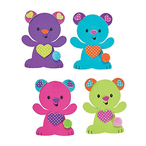 Valentine Bear Magnet Craft Kit - Makes 12 Magnets - 3 1/2 x 2 3/4 inch - Foam - - Foam Valentine Crafts