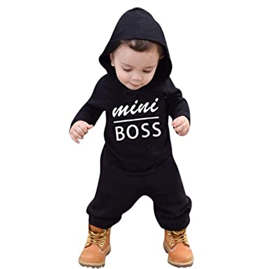 784c6265b Amazon.com: 2019 New! Toddler Kids Jumpsuits,Baby Boys Girls Hoodie Outfits  Mini Boss Letters Printed Playsuit Clothes: Clothing