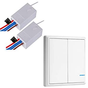 Wireless Light Switch and Receiver Kit for Lamps Ceiling Fans Appliances, Night Light Indicator, No Wiring No WiFi,2 Gang/Button 2Way (2 switches 2 receivers kit)