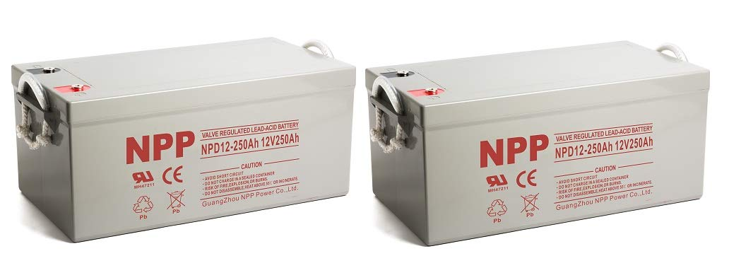 NPP NPD12-250Ah AGM Rechargeable Sealed Lead Acid 8D Deep Cycle 12V 250Ah Battery with Button Style Terminals (2 Pack)