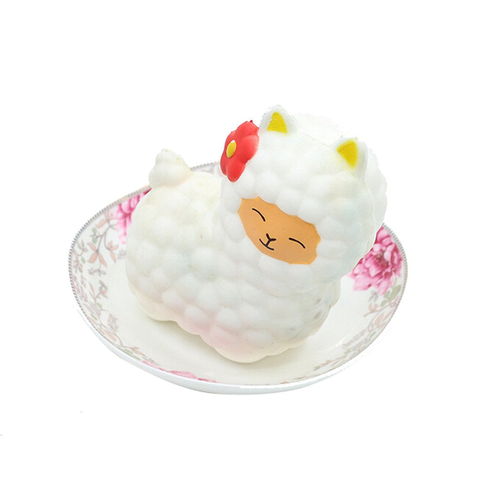 Squishy Squeeze Toys, salaheiyodd Adorable Alpaca Slow Rising Soft Scented Charms Squishy Stress Reliever Squishies Toys for Kids and Adults (White)