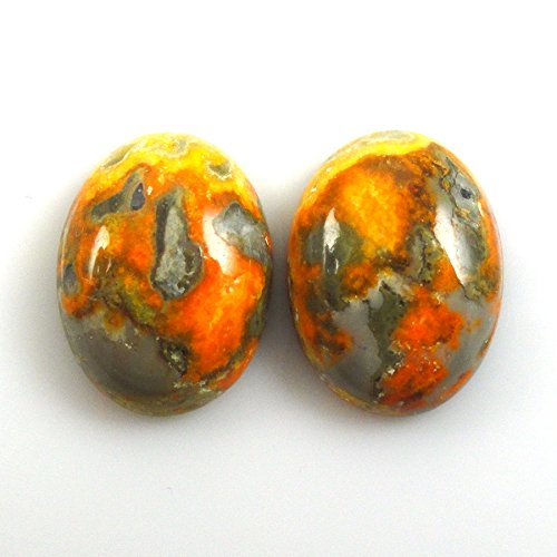 Jasper Cabochons Matched - Bumble Bee Jasper Cabs Oval 16x12mm Matched Pair Approximately 11.00 Carat (11290)