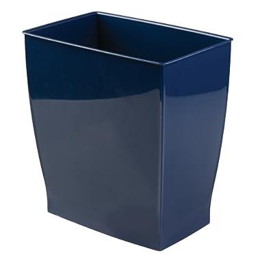 InterDesign Spa Rectangular Trash, Waste Basket Garbage Can for Bathroom, Bedroom, Home Office, Dorm, College, 2.5 Gallon Navy