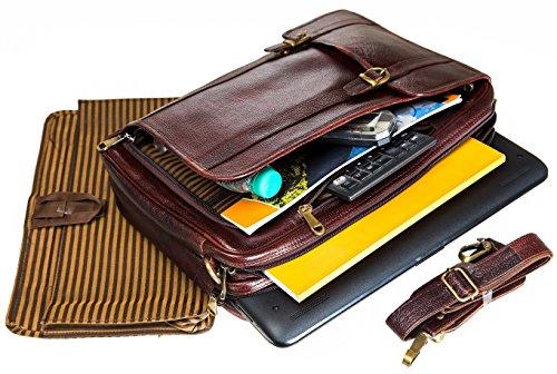 Urban Leather 16 Inch 3-in-1 Full Grain Handmade Dark Tan Bagpack-Handbag-Sling Laptop Ipad Leather Bag by Urban Leather (Image #6)