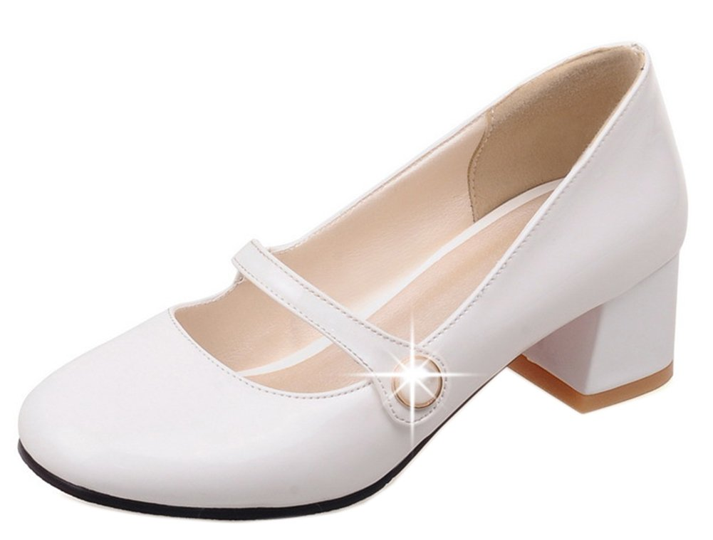 Easemax Femme Simple Femme Slip Easemax on B078T494VF Talon Chunky Bride Cheville Mary Janes Blanc 68d68cd - deadsea.space